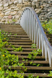 Wooden stairs to the medieval wall closeup Royalty Free Stock Photo