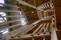 Stairwell view from below, the wooden stairs to the observation stock photography