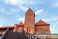 Wooden Stairs of Trakai Castle. View of brown wooden stairs of Trakai Castle with brown stonewalls Royalty Free Stock Photography