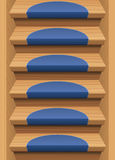 Wooden Stairs Treads Mats Blue Endless Stock Photos