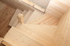 Wooden stairs under conctruction view from above Stock Images