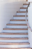Wooden stairs up on sundeck of the luxury yacht Stock Images