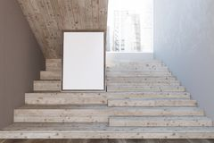 Wooden stairs in white wall hall, mock up picture. Wooden stairs in a white wall hall of a luxury house or office interior with a wooden floor and a cityscape. A Royalty Free Stock Images