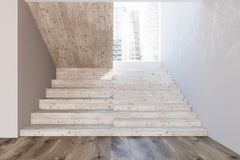 Wooden stairs in a white wall hall, picture. Wooden stairs in a white wall hall of a luxury house or office interior with a wooden floor and a cityscape Stock Photography