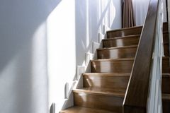 Wooden stairs and wooden handles Royalty Free Stock Image