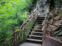 Wooden stairway approaching Bushkill Falls in eastern Pennsylvania Royalty Free Stock Images