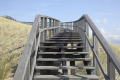Wooden stairway in the dunes, Petten, Netherlands Royalty Free Stock Photos