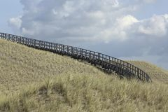 Wooden stairway in the dunes, Petten, Netherlands Stock Photo