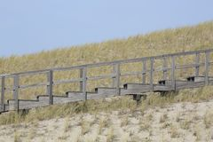 Wooden stairway in the dunes, Petten, Netherlands Stock Images