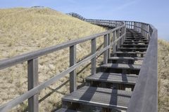Wooden stairway in the dunes, Petten, Netherlands Royalty Free Stock Image