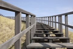 Wooden stairway in the dunes, Petten, Netherlands Royalty Free Stock Photo