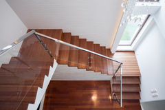 Wooden stairway in luxury house Royalty Free Stock Images