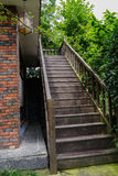 Wooden stairway in sunny summer Stock Photography