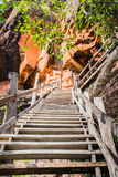Wooden stairway to the mountain Stock Image