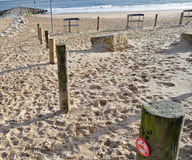 Wooden stakes on beach. A row of wooden stakes on a sandy beach Stock Photos