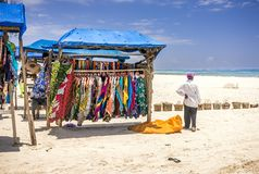 Wooden Stall With Colorful Fabrics On Diani Beach Eascape, Kenya Stock Photography