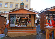 Wooden stalls with local wine, Prague Royalty Free Stock Photo
