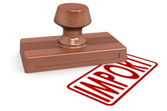 Wooden stamp import with red text Royalty Free Stock Photo