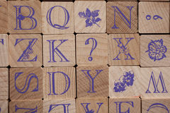 Wooden stamps alphabet letters Royalty Free Stock Photography