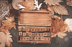 Wooden stamps alphabet Royalty Free Stock Image