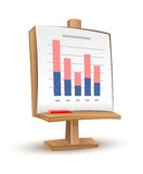 Wooden stand with analytics graph report stock illustration