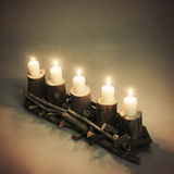 Wooden stand with candles Stock Photo