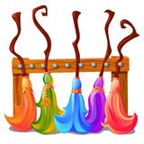 Wooden stand with colorful brooms of the witches isolated on white background. Sketch for a poster or card for the vector illustration