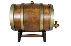 Wooden Stand Supporting Oak Wine Cask with Brass Hoops Royalty Free Stock Photo