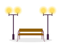 Wooden Standard Bench and Two Street Lamp Isolated Stock Images
