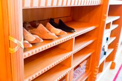 Wooden stands for shoes Stock Photo