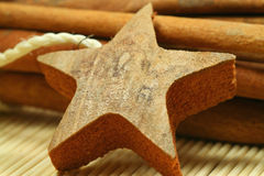 Wooden star. Closeup of wooden star made of bark. Christmas symbol and cinnamon sticks in background Stock Image