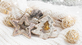 Wooden star, heart and tree ornaments with lights Christmas deco Stock Photography