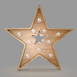 Wooden star light banner. Stock Images