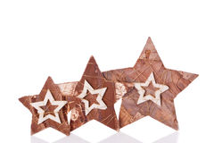 Wooden stars christmas decoration Stock Photo