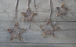 Wooden stars decorations on wood Stock Photography