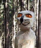 Wooden statue of cat Stock Photos