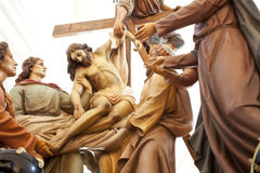 Wooden statue of Christ deposition Royalty Free Stock Image