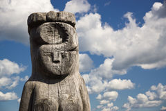 Wooden statue of the idol. Royalty Free Stock Photography