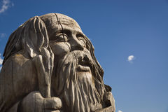 Wooden statue of the idol. royalty free stock image