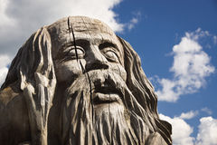 Wooden statue of idol. stock image
