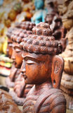 Wooden statue or idol of lord Buddha meditating Royalty Free Stock Photography