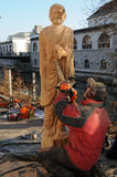 Wooden statue of old Roman Stock Photo