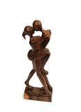 Wooden Statue On White Stock Images