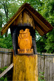 The wooden statue of an owl. Royalty Free Stock Photography