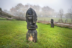 A wooden statue of the Viking. In Denmark Royalty Free Stock Images