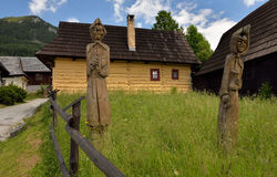 Wooden statues in historical village Vlkolinec Royalty Free Stock Images