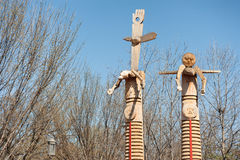 Wooden Statues near National Museum of the American Indian Stock Images