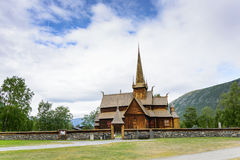 Wooden stave church of Lom in Norway Royalty Free Stock Photo