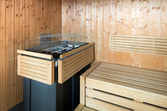 Wooden steam sauna Stock Image
