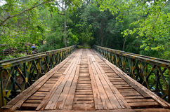 Wooden with Steel bridge for cross over stream river from Tad Ph Royalty Free Stock Image